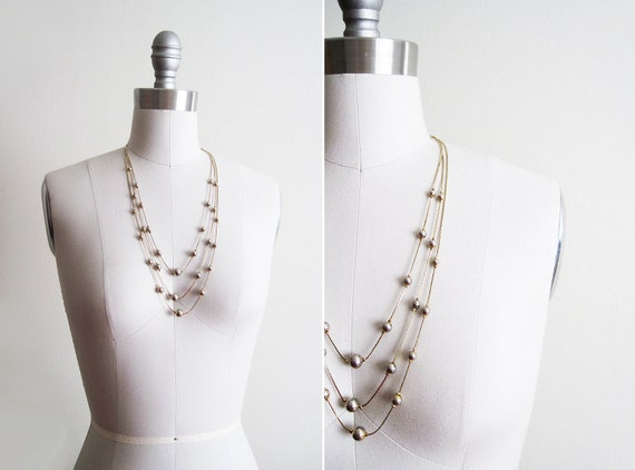 Vintage Floating Bead Layered Necklace / Gold Tone
