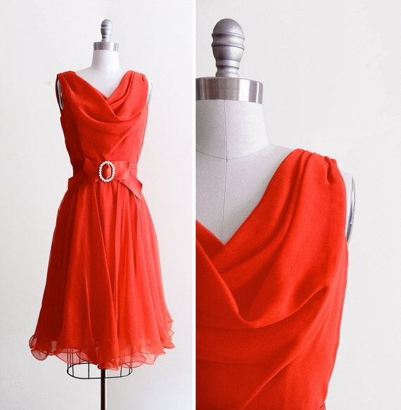 Sleeveless Red 60s Cocktail Dress
