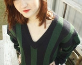 Sale-Hunter Green & Navy Vneck Sweater
