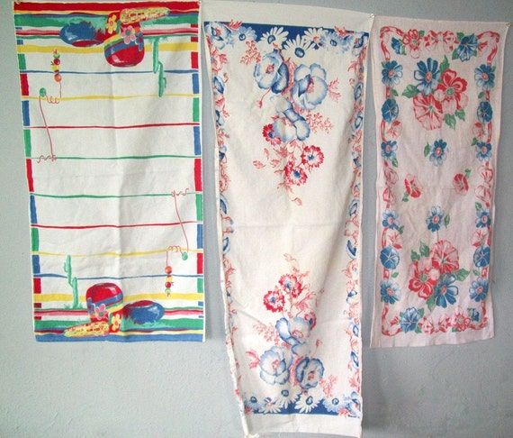 Three Retro Kitchen Towels Mexico Wilendur Flowers Red