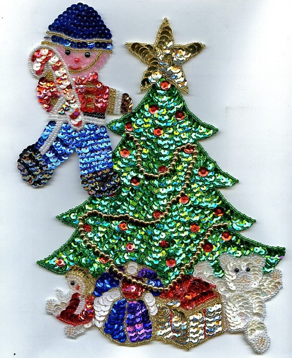 Sequin Christmas Applique Trees Soldier By Find4you On Etsy