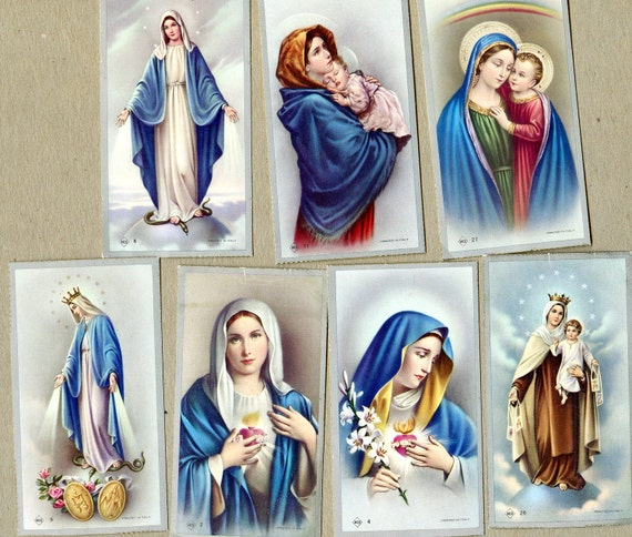 8 Vintage Holy Cards - Blessed Virgin Mary
