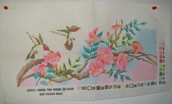 Hummingbird Screen Printed Needlepoint Canvas - 1988 From The Heart