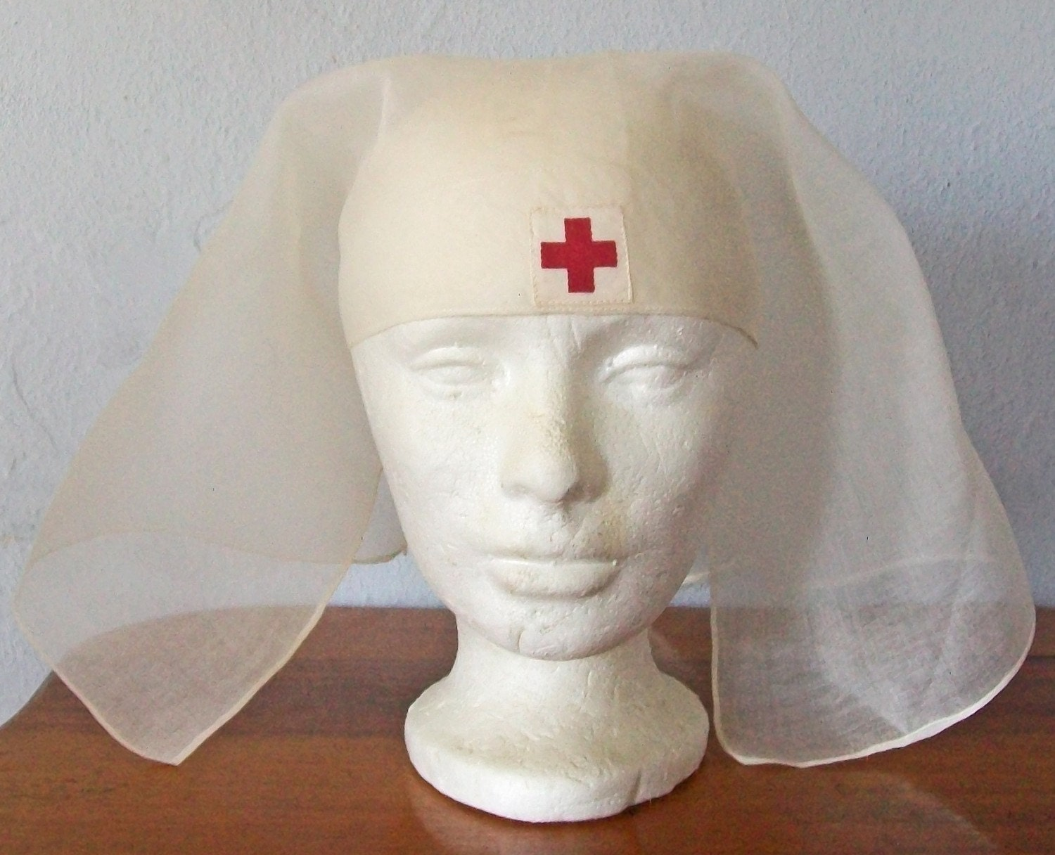 World War I Vintage Red Cross Nurse S Cap Scarf Head
