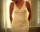 Meredith .. Vintage Pure Cotton White Silp\/Nightgown (M\/L)