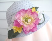 Sun Hat, Bonnet, Lavender Cloche, Fuschia and Yellow Flowers
