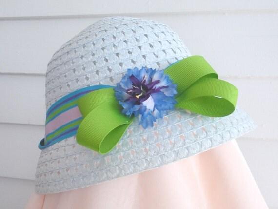 Bonnet, Sun Hat, Light Blue, Green, Purple, Flower, Girls