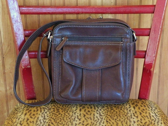 Vintage Fossil Brown Leather Bag Purse Handbag Fossil 1954