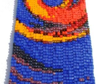 Fire Dance Peyote Stitch Cuff Bracelet