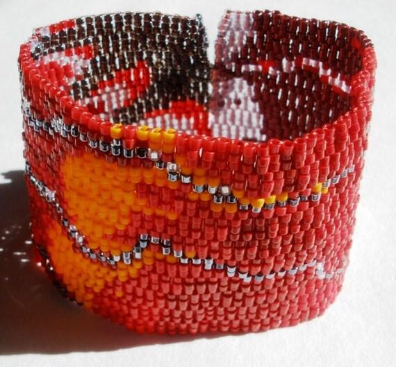 Lava Flow Peyote Stitch Cuff Bracelet