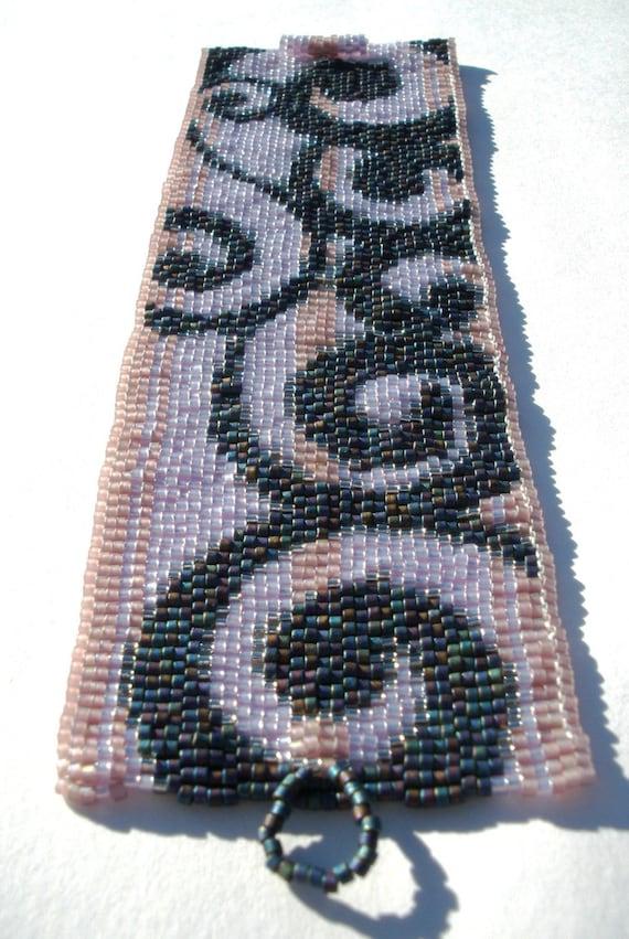 Penciled in Swirls Peyote Cuff Bracelet EtsyFreeShipping