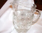 Glass pitcher/creame American prescut, Star of David pattern by Anchor Hocking