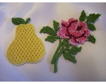 Appliques Pear and Rose vintage