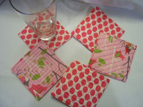 Coasters set of 5  Bright Pink, Cream,Lime Green Gray