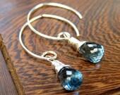 Sterling Silver London Blue Topaz faceted briolette earrings