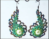 Peacock and Green Beaded Earrings