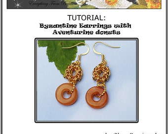 TUTORIAL Byzantine Earrings with Aventurine donut