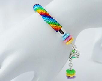 "Seed Beads Crocheted Bracelet ""Rainbow"""