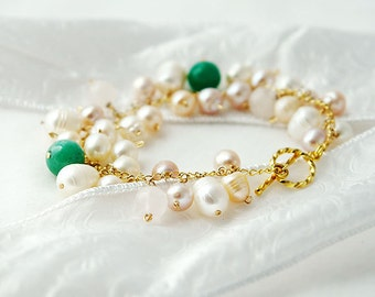 Innocence Bracelet with Pearls, Rose Quartz and Green Aventurine