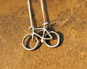Road Bike Necklace  (Silver)