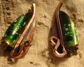 Matisse Green Enamel Copper Earrings