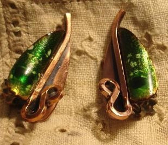 Matisse Green Enamel Copper Earrings