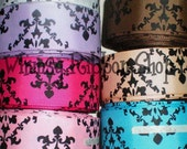 3 yards Beautiful Custom 1.5 Black Damask on Pink,Yellow Gold Hot Pink, Turquoise, Spring Moss, Raw Silk-Tan, Brown Tuftan, Red, Blue Bell, Silver, White w/Pink Damask, Black w/Pink Ribbon U-PICK Color For Hair Bows Scrapbooking Decor and other Crafts