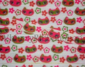 NEW 20 Yards 3/8 M2MG Fall for AUTUMN girl Owl heads fuschia pink green orange/red flowers on White Grosgrain Ribbon sewing clips hair bows