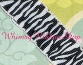 NEW 3 Yards 1.5 Glam Black/white Zebra w/ White MOONSTITCH on Black Grosgrain Ribbon Hair Bows barbie Scrap booking Grosgrain Ribbon