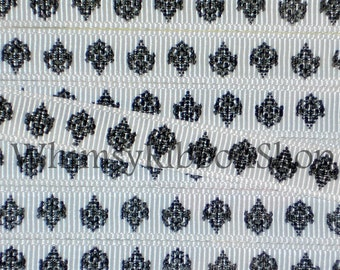 New 3 yards 3/8 BLACK Damask on WHITE Grosgrain Ribbon Hair bows Scrap booking Crafts sewing Chandelier