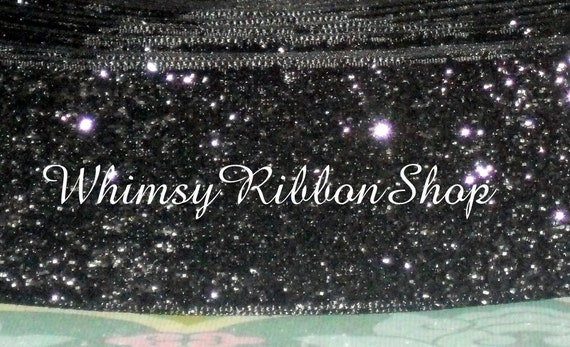 2 yards 7/8 BLACK silver GLITTER Bling RIBBON for Crafts Scrap Booking Trim Hair Bows clippie clips Accessories sewing and More