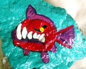 Evil Piranha Rock Painting