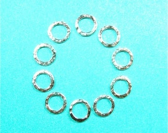 Handmade Supplies Ten 16g sterling silver hammer textured links for do it yourself jewelry projects (SMALL)