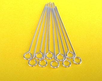 Handmade Supplies Ten 20 gauge argentium silver 1.5 inch eyepins