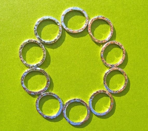 Handmade Supplies Ten 16g Sterling Silver Hammer Textured