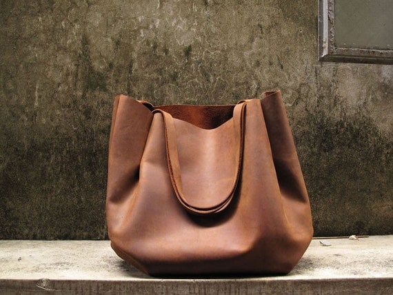 Hand-stitched Brown Leather Double Strapped Shoulder Bag (Extra large size)