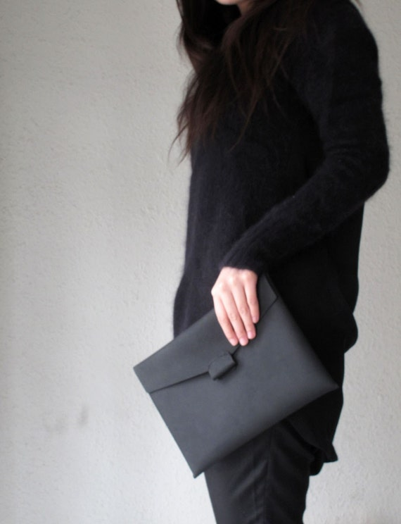 Hand-stitched matte black leather iPad case - featured on front Page of Etsy