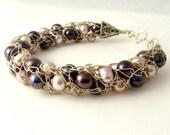 Silver wire crochet bracelet, violet mauve pearls, bridal, OOAK