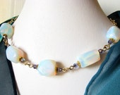 Gold wire wrapped necklace opalite tanzanite crystals
