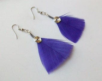 Silver Spiral and Purple Turkey Feather Earrings - 2 1/4 Inches Long