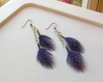 Purple Polka Dot Feather Earrings