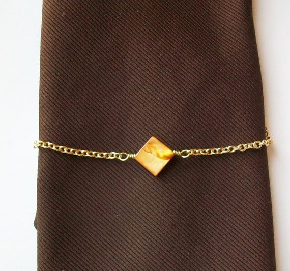 Gold Mother of Pearl Square Wire Wrapped Tie Chain