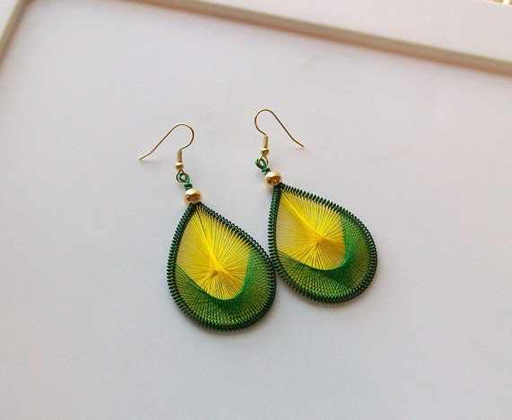 Green and Yellow Handwoven Thread Earrings