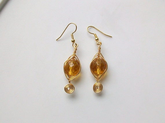 Topaz Swirl Wire Wrapped Czech Crystal Earrings