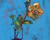 St. John's Wort and Four Leaf Clovers Still Life Original Painting