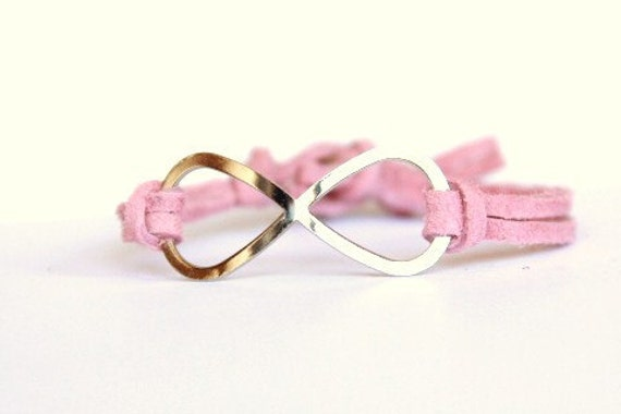 Infinity - Pink Suede and Silver Rhinestone