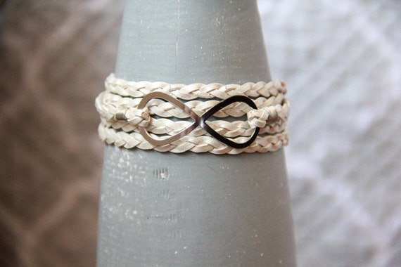 Infinity -- Braided Pearl Leather Wrap