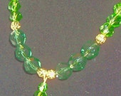 Green Crystal Bead Necklace and Earrings Free Shipping