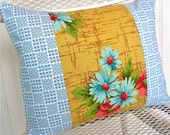 Vintage Fabric and Linen Handmade Pillow   Floral Dobby Cloth