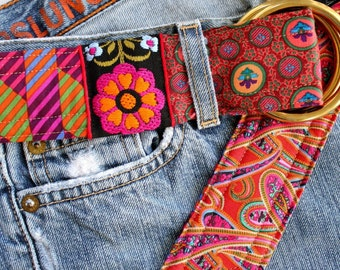 Liberty of London, floral and paisley belt, preppy style